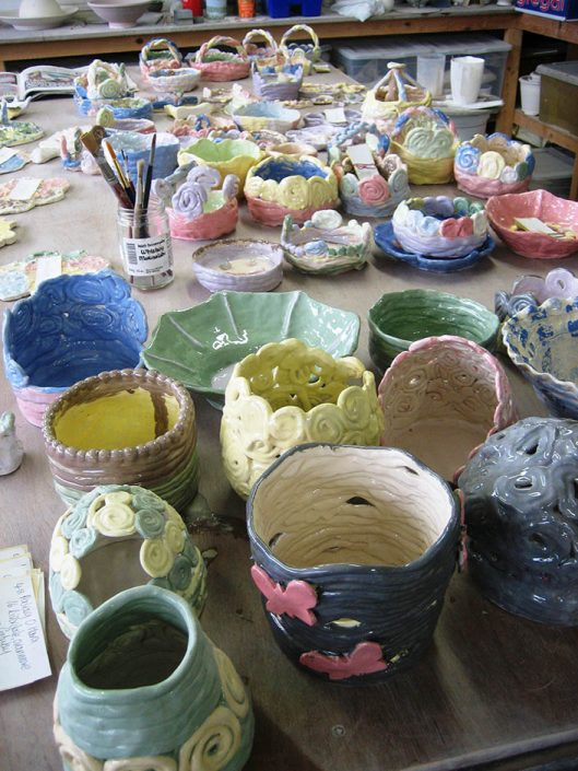 pots made by children at pottery party