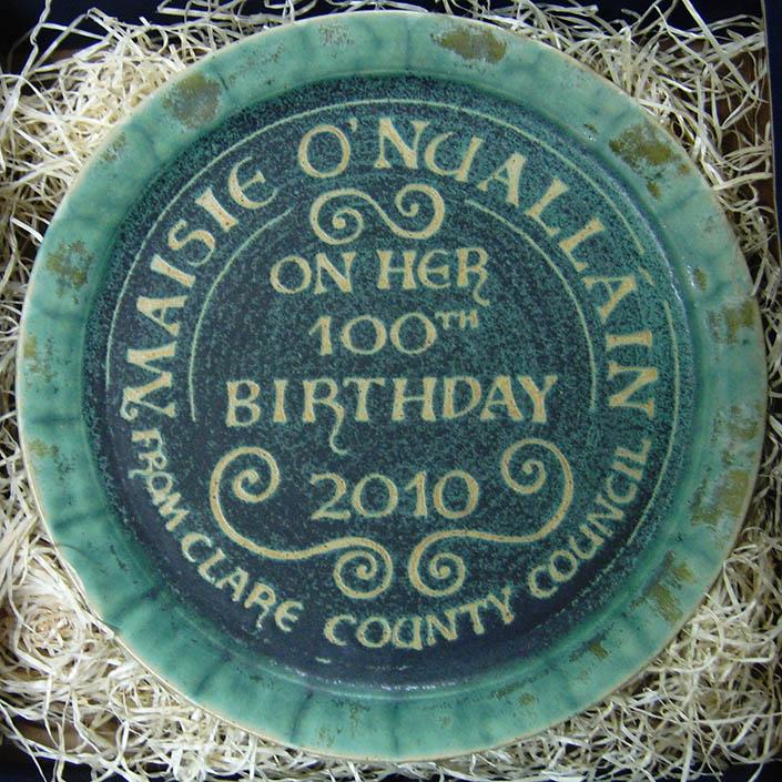 ceramic plate to celebrate 100th birthday