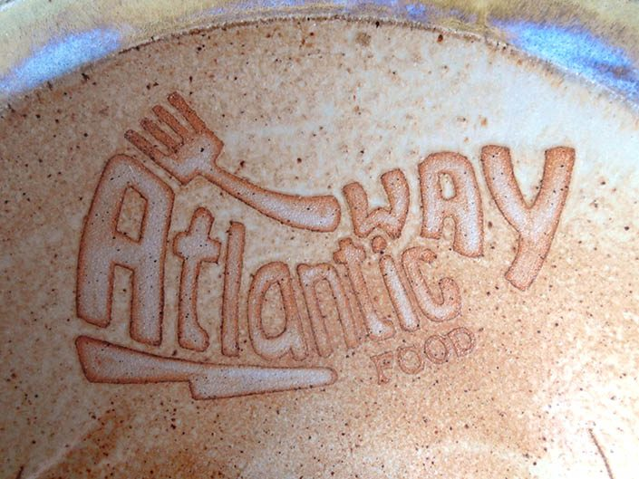 Detail of bowl with Atlantic Way logo